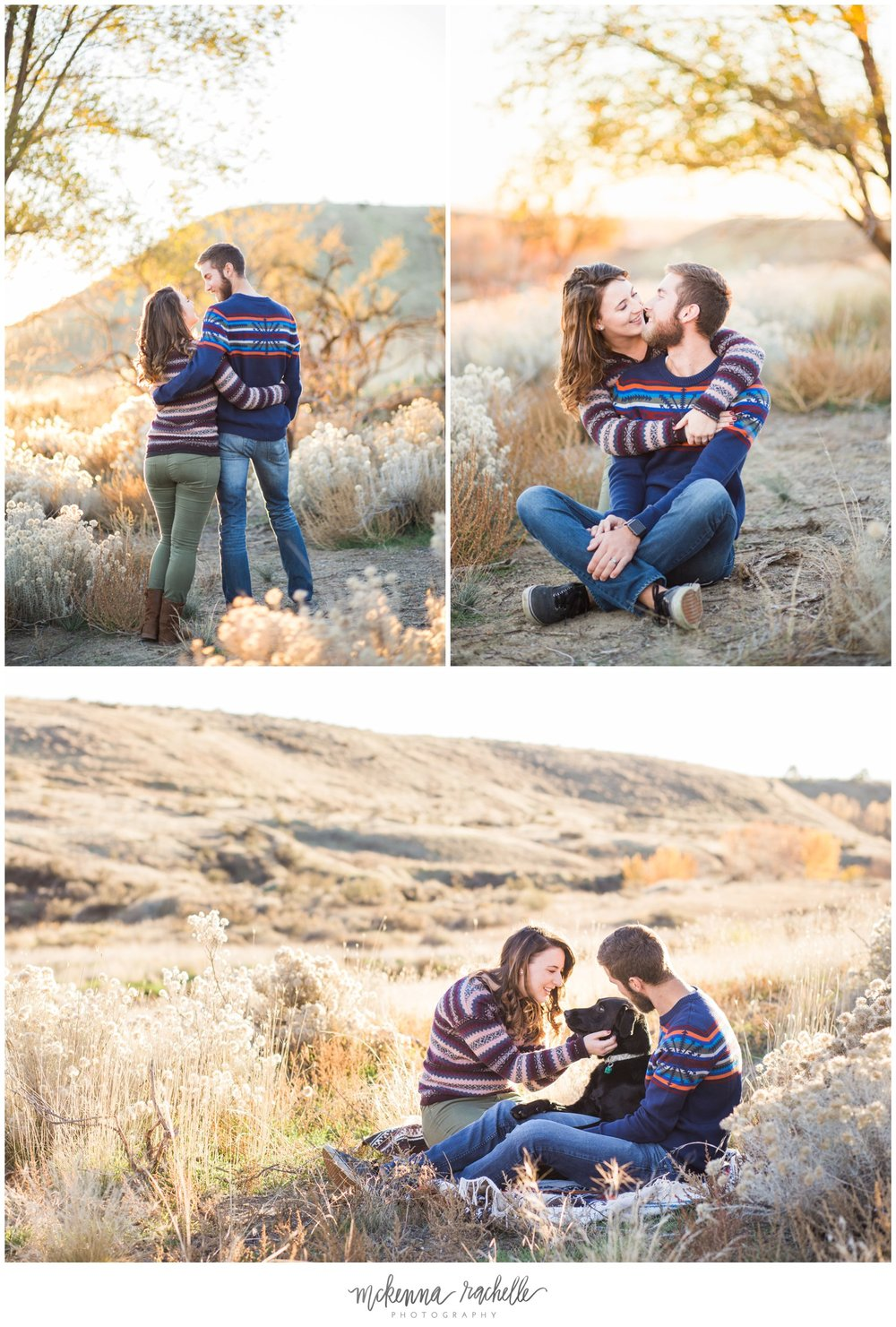 Sunset engagement photos with dog in grassy field with Pacific Northwest photographer, McKenna Rachelle Photography