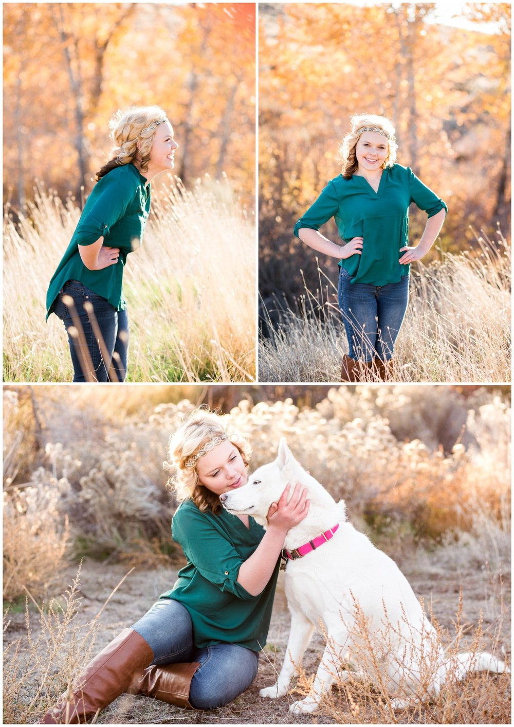 Girl and her dog take senior portraits in the Fall.
