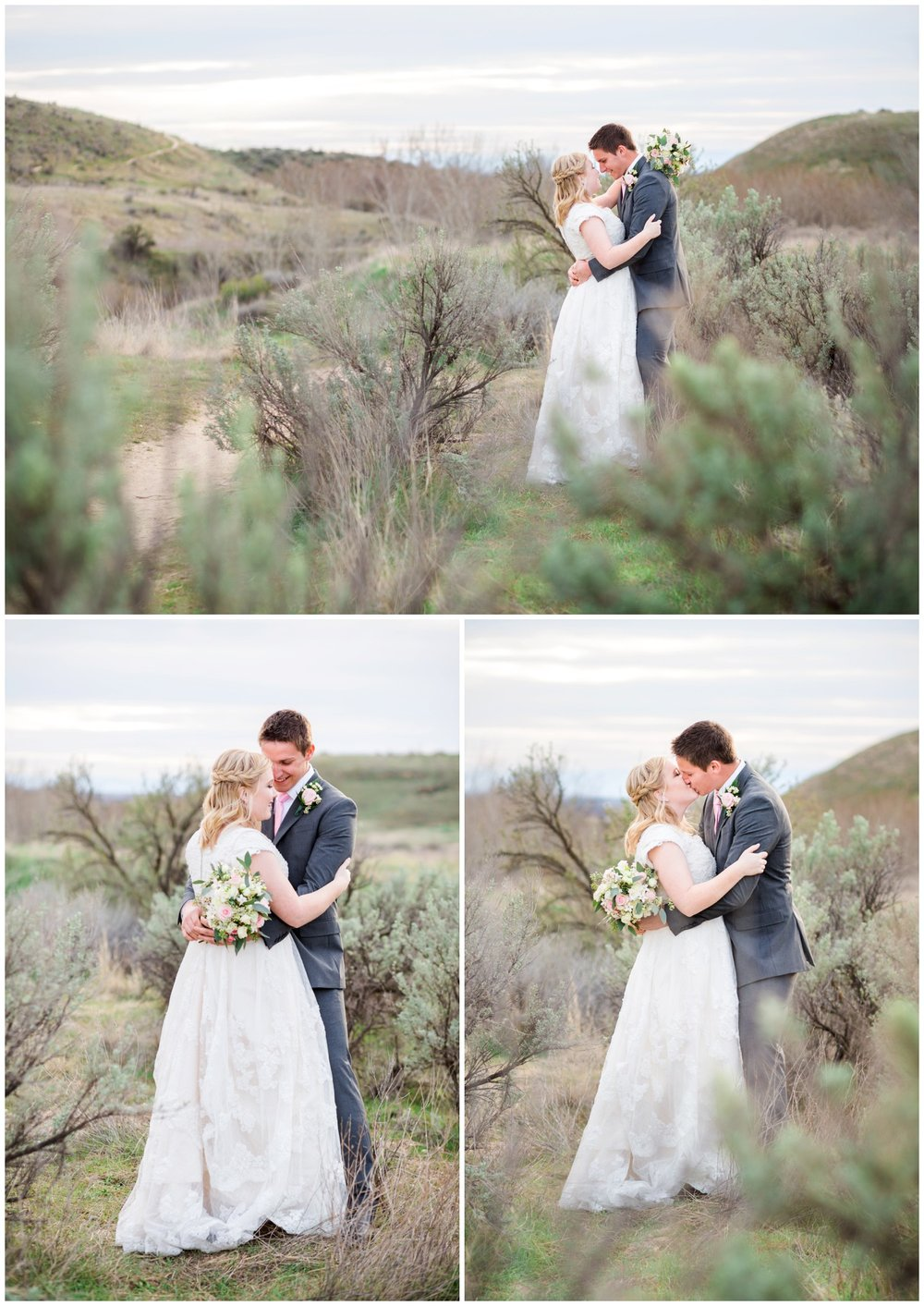 Bride and Groom portraits on hillside at sunset with sagebrush.