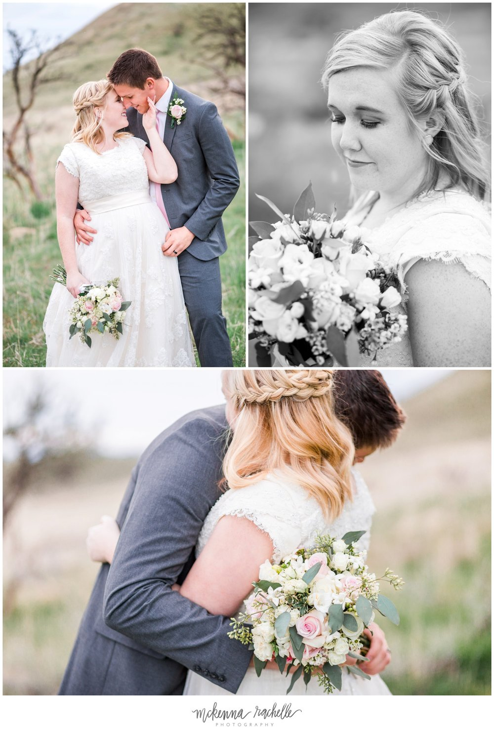 Bride and groom embrace during bridal session with Oregon photographer McKenna Rachelle Photography.