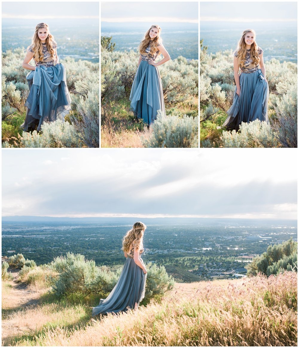 Senior girl in blue beaded prom dress takes senior portraits on Table Rock.