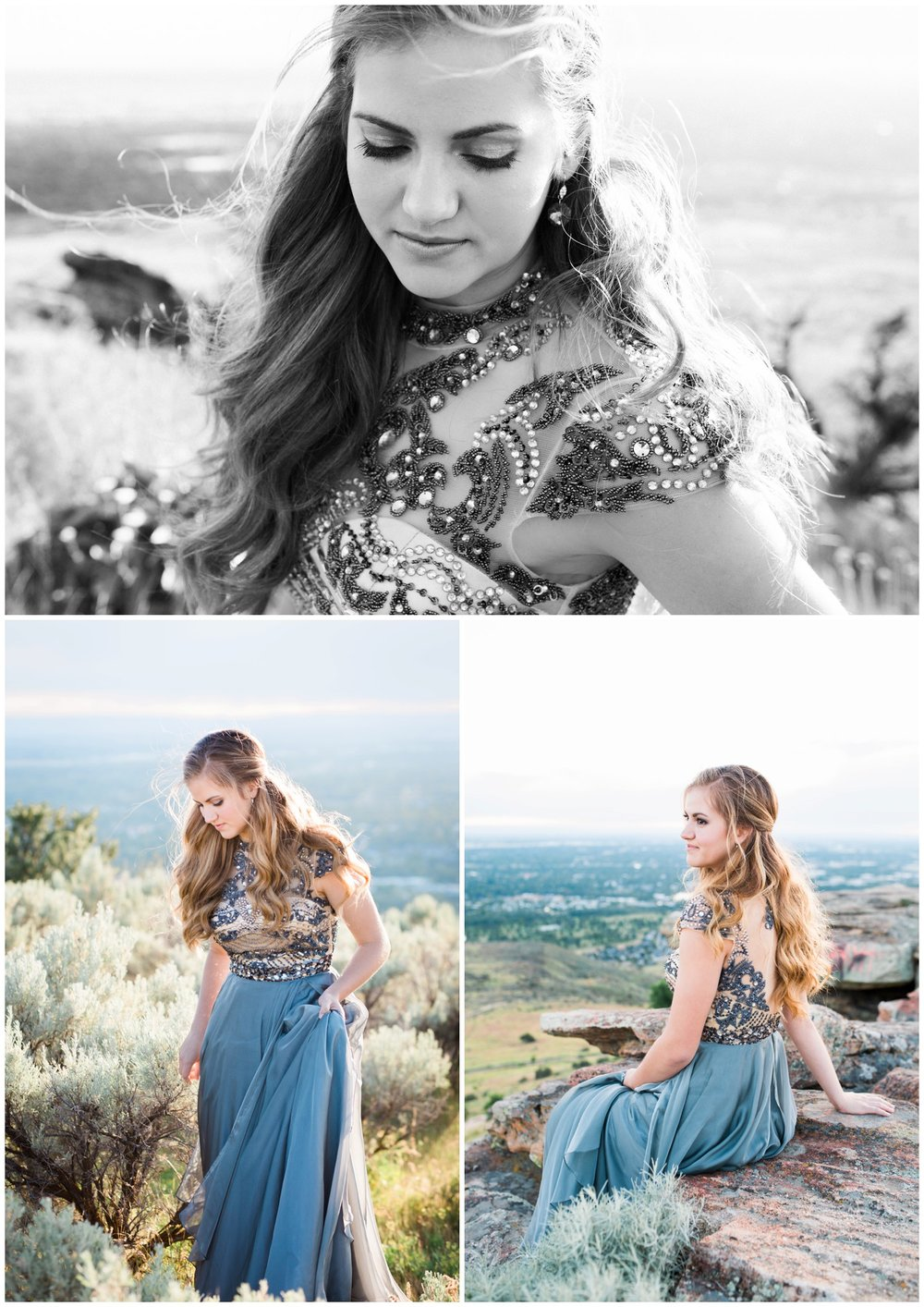 Senior photographs on a cliffside among sagebrush.