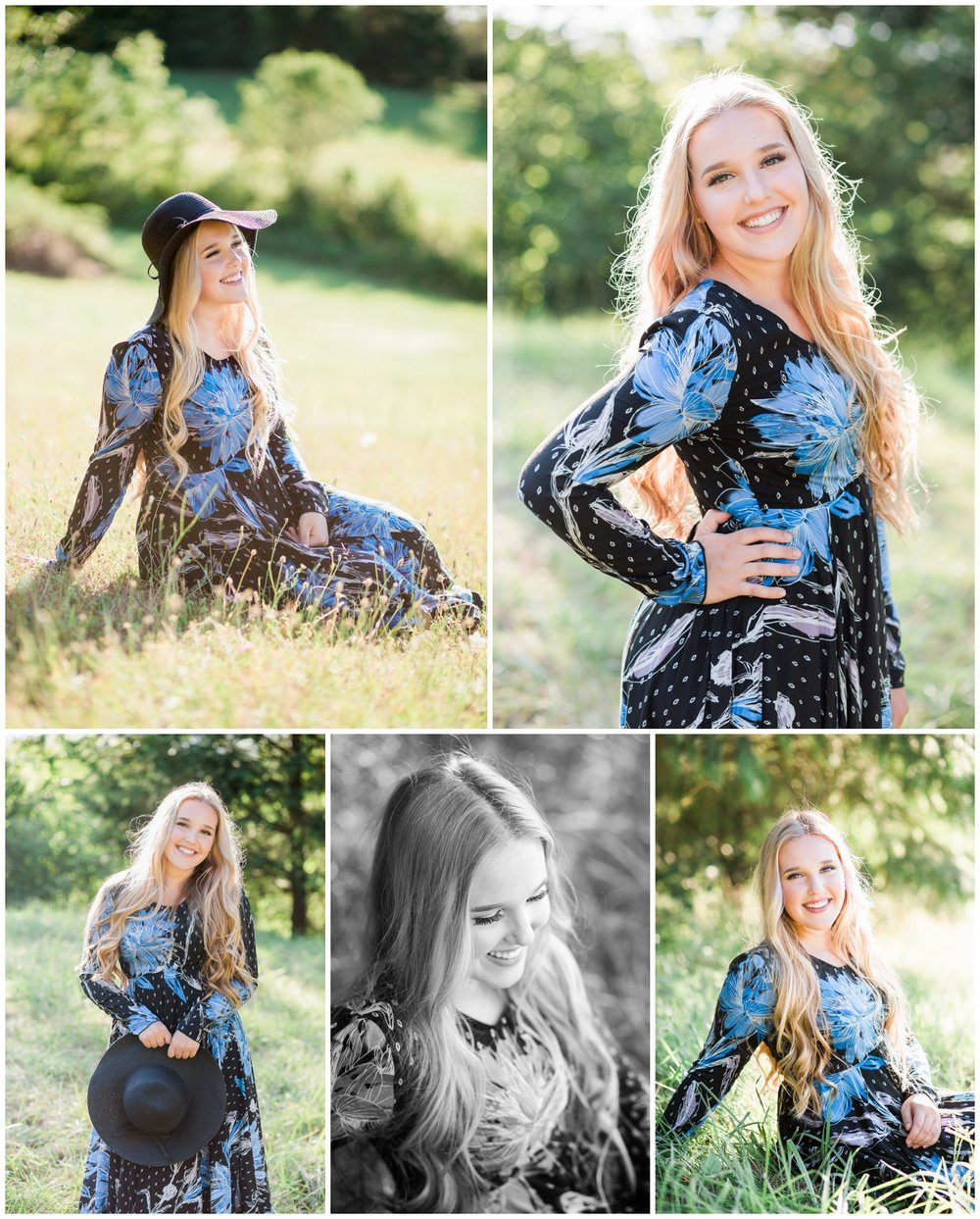 Class of 2017 Sheldon High School senior girl wears long floral dress for pictures with McKenna Rachelle Photography