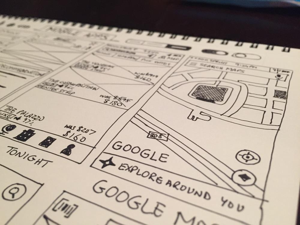 Mobile app sketch closeup