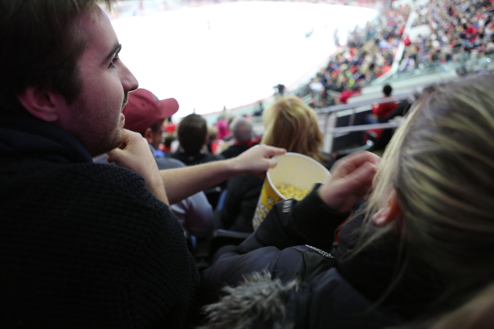 Get Iced:   MQ Student, Tom, enjoys the popcorn, company and straight-up competition at the American Hockey League game.