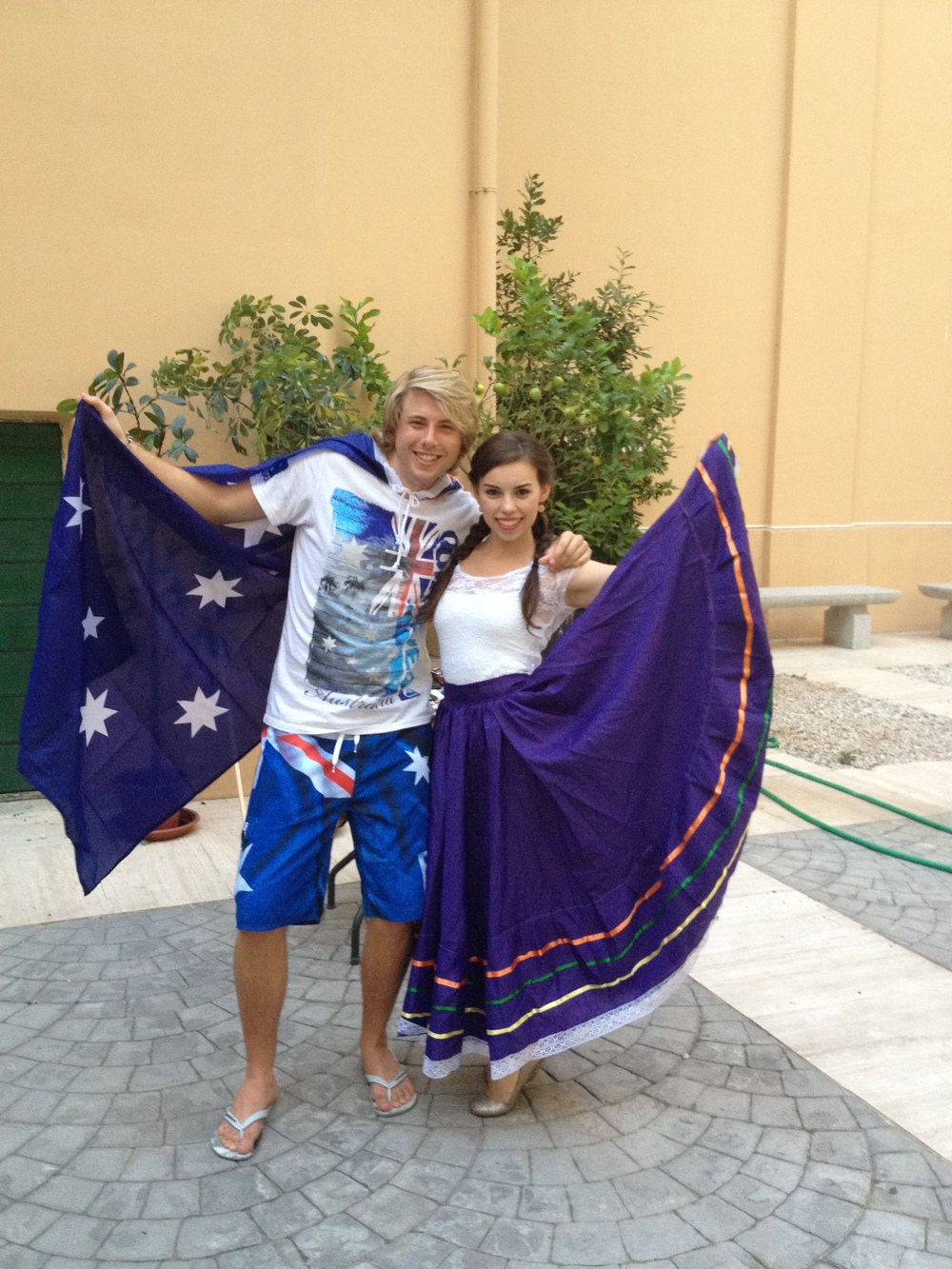 Matt and Jessica from Mexico at cultural night in Rome.