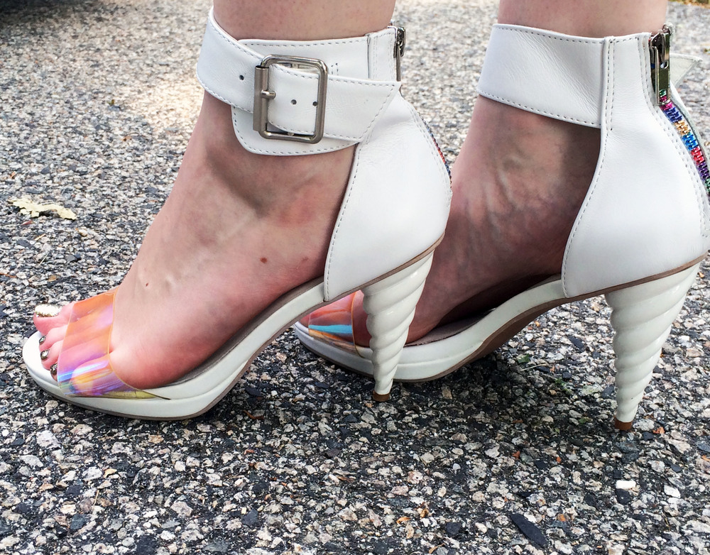 Just like I  needed  these unicorn heels. My brother graciously accepted the job of photographing my footwear for the first of two family weddings.