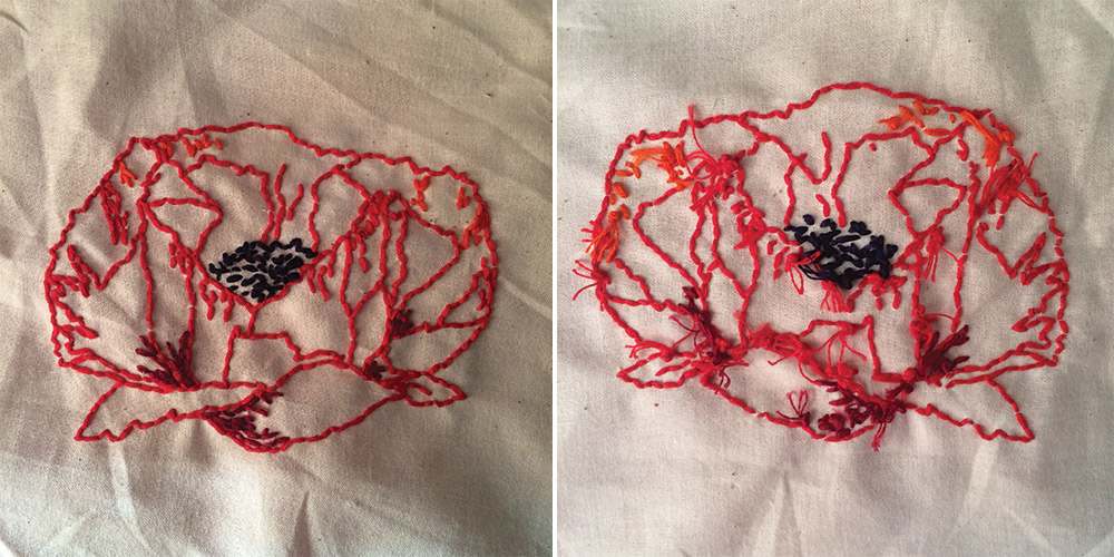 "I embroidered this poppy for my boss and friend, Jill, when her father passed away this summer. She and her siblings called him ""Poppy,"" thus her affinity for the flowers, a favorite of mine as well."