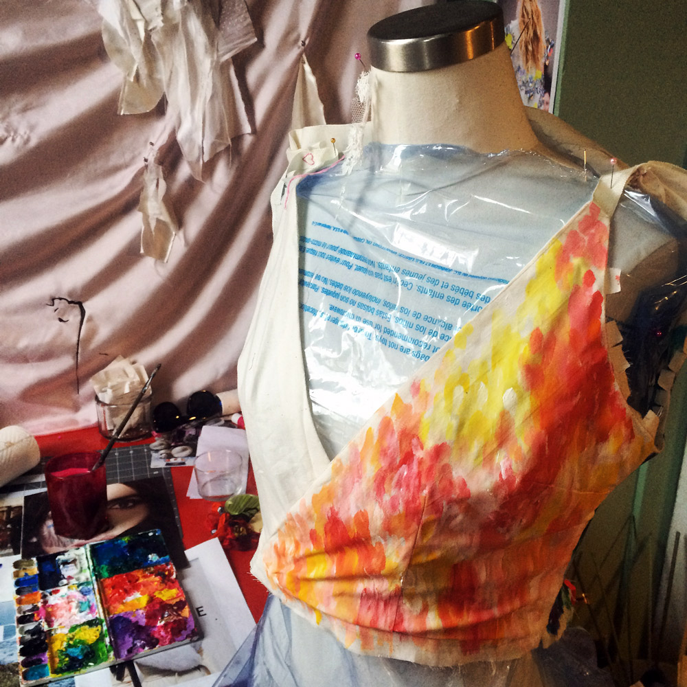 This top is a mockup from my work of a BEAUTIFUL wedding gown Jill made for one of our clients. I got to keep this piece, and I played around with some acrylics!