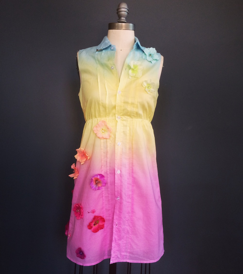 Alex sent me this dope rainbow ombre dress to embellish, as well. She told me to do whatever I wanted, so of course there were fabric flowers and beads involved ;)