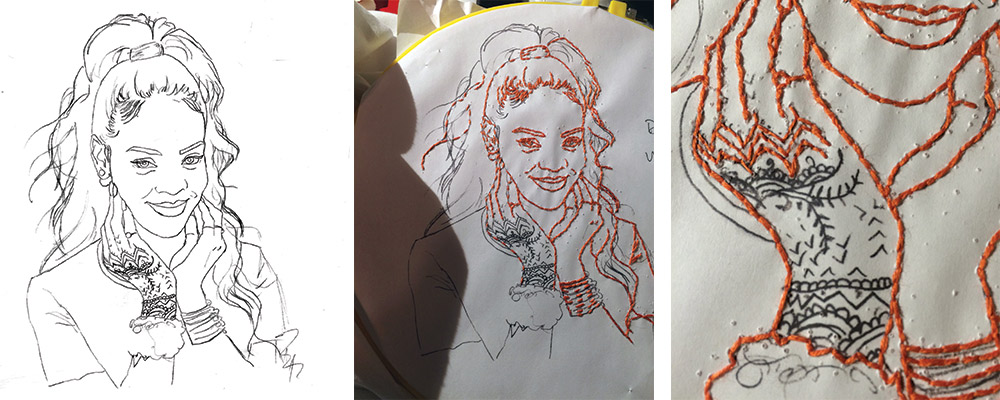 Here's a peek at what goes into the making of my embroidered celeb portraits. Left - my hand traced stencil, enhanced in Photoshop for more clarity while stitchin'. Middle - Getting there! Right - I saved Rih's hand tattoos for last, as they required some serious concentration! This is by far the most intricate embroidery project I've done to date, and I fucking LOVED it. I've already been commissioned to make a patch with this design for a friend, and I have a feeling that won't be the last one ;)