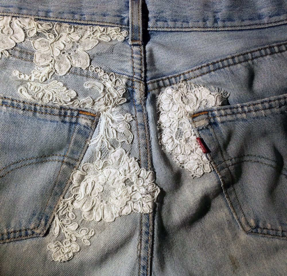 I patched up my favorite vintage Levi's with lace scraps from work. I am so spoiled! But, ya know, I believe my butt deserves the best.