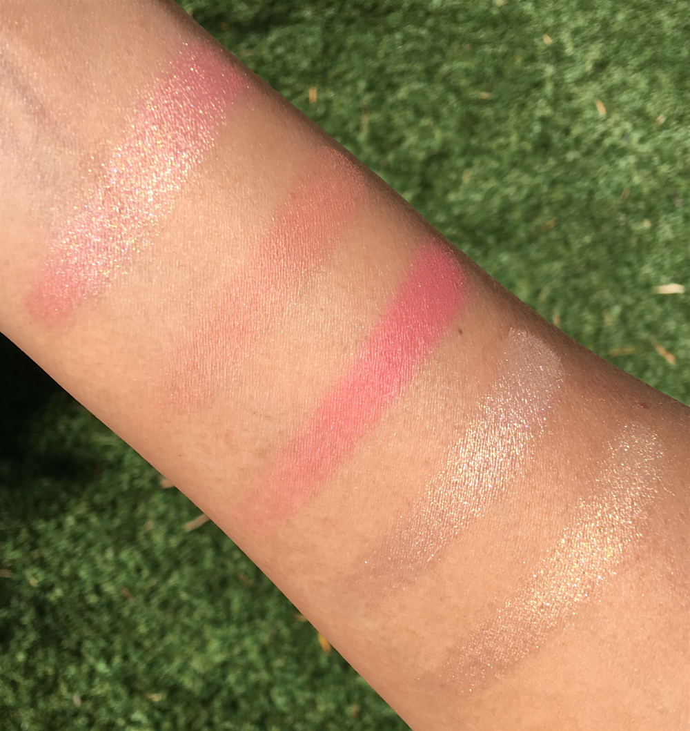 Becca x Jaclyn Hill Face Palette, swatches taken in direct sunlight