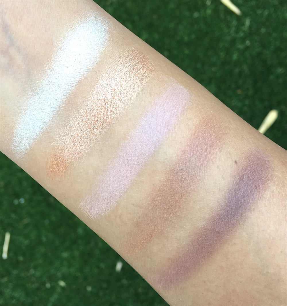 Becca x Jaclyn Hill Eye Palette, swatches taken in in  direct sunlight