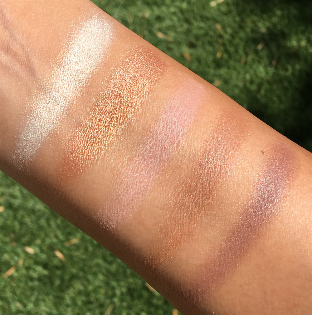 Becca x Jaclyn Hill Eye Palette, swatches taken in   direct sunlight