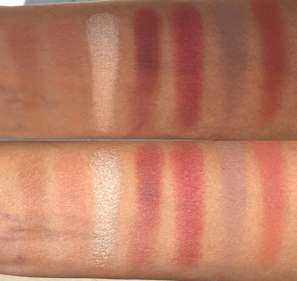 Top picture taken in indirect sunlight, bottom picture taken in direct sunlight. Left to right: Raw Sienna, Burnt Orange, Primavera, Red Ochre, Venetian Red, Warm Taupe, Realgar