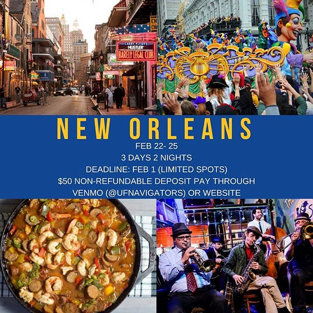 We're going to New Orleans! Make sure to reserve your seat by FEBRUARY 1 as spots are limited! Experience one of the most exciting and unique places in America known for its food, jazz, and nightlife!