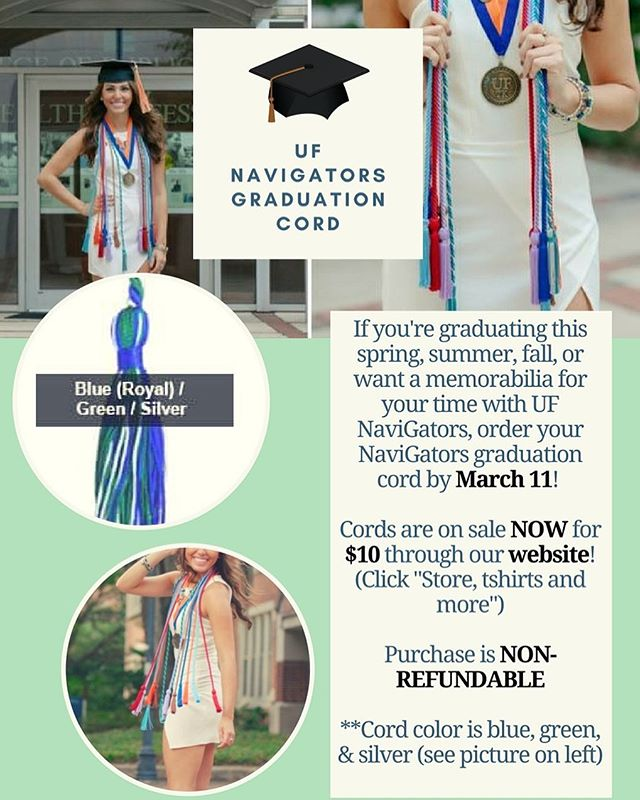 UF NaviGators graduation cords are NOW available for order! Order your cord by MARCH 11! Cord colors are blue, green, & silver. Cords are $10 and can be ordered through our website! 🌎🐊🎓 #congratsgrad #classof2018
