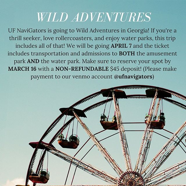 We're going to Wild Adventures in Georgia APRIL 7! If you're a thrill seeker, love roller coasters and water parks, then this is the trip for you! Make sure to reserve your spot MARCH 12 with a NON-REFUNDABLE $45 deposit! The ticket will include transportation and admissions to two parks! 🎡🎢
