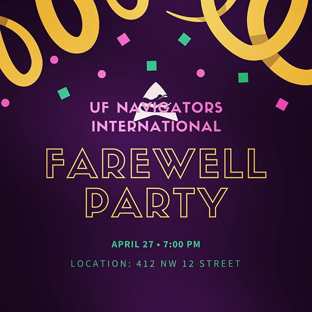 The farewell event will no longer be at Harry's. It will be at the address listed and there will catering, giveaways, photo booths, and more! This is a formal event so come dressed up! 🎉🎉🎉