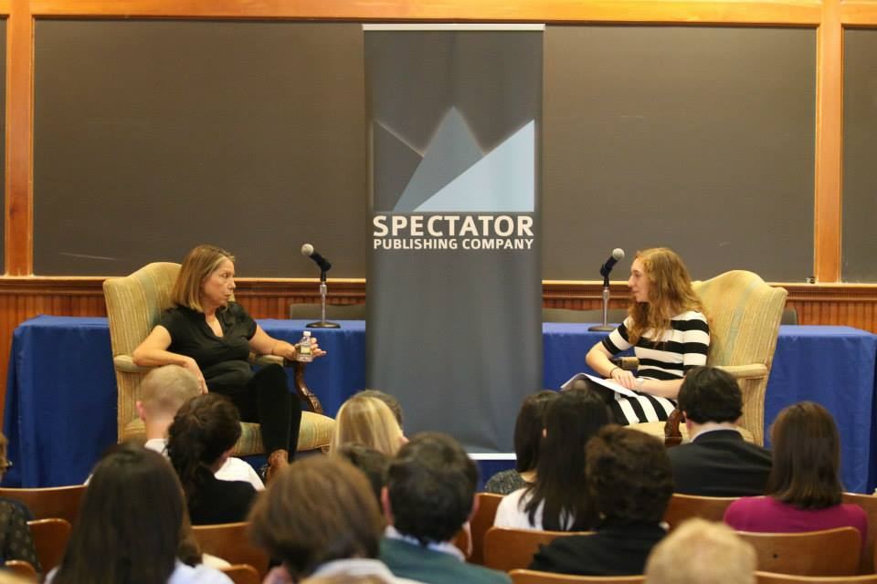CMC 2015 Keynote Speaker Jill Abramson answers questions from Abby Abrams, 138th Editor in Chief of Spectator.