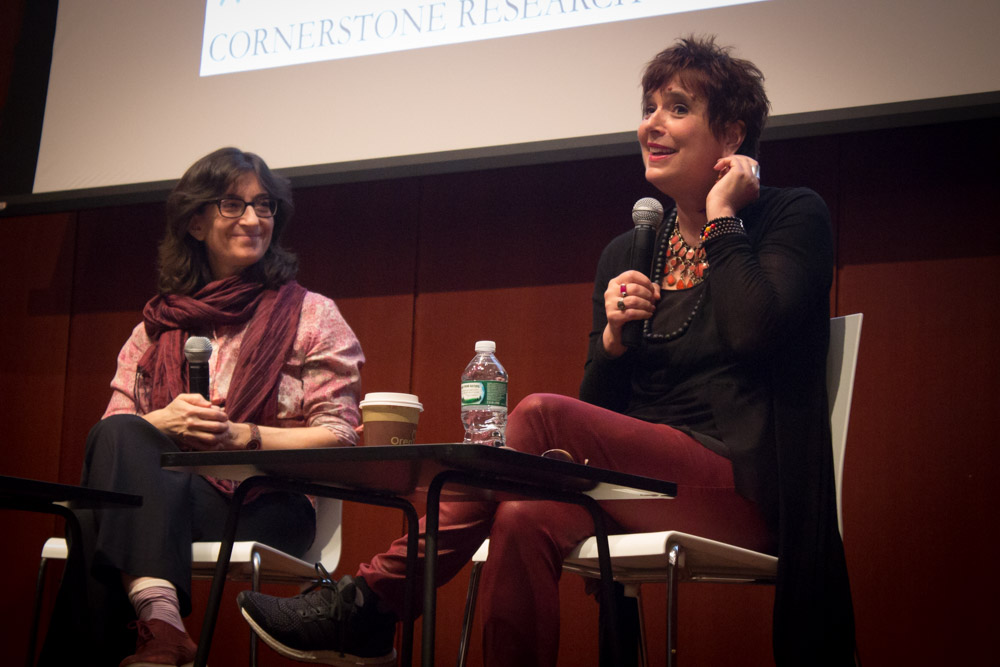 Eve Ensler speaks at the 2015 Columbia Women's Leadership Conference.