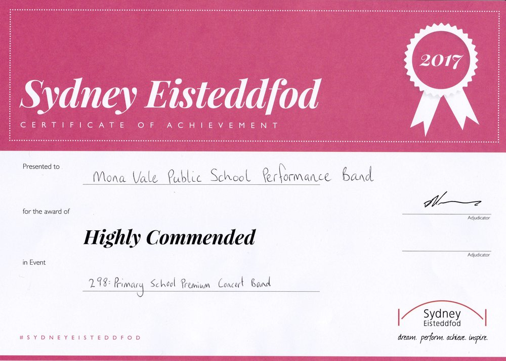 Highly Commended - Primary School Premium Concert Band