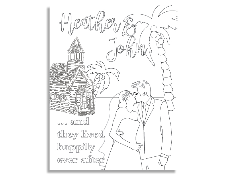 Custom Coloring Book Page for young guests at a wedding.