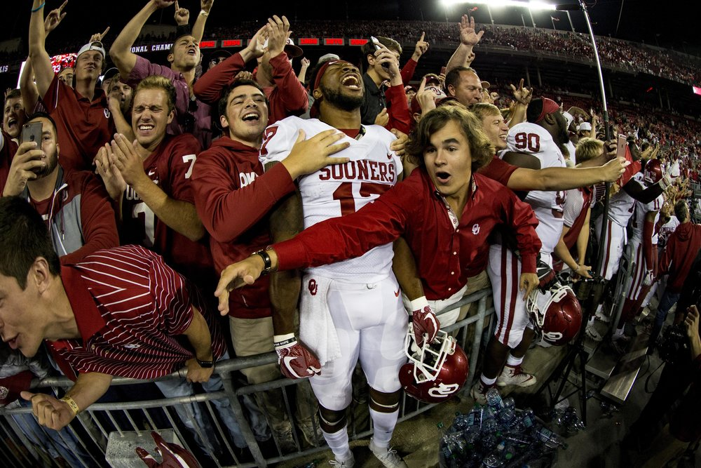 Jordan Smallwood celebrates after beating Ohio State, the second ranked team in the nation,in Ohio Stadium on September 9, 2017. Oklahoma got revenge over the Buckeyes for their loss in Norman the year before.