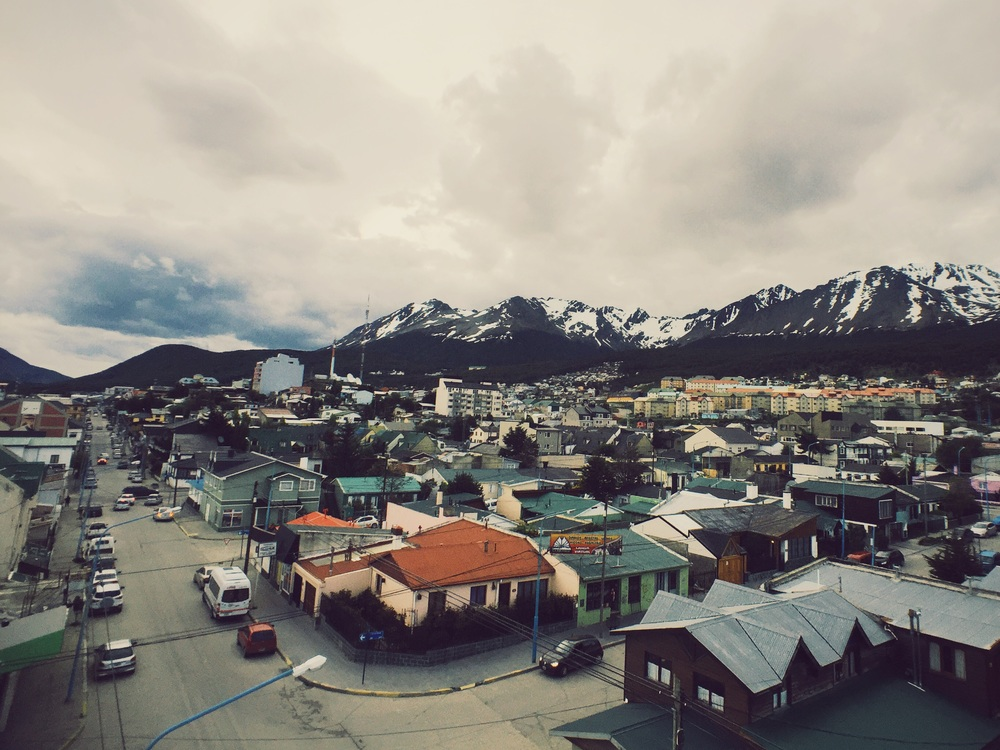 Views of a very leaning Ushuaia, the southern most city in the world and port of call for Antarctica