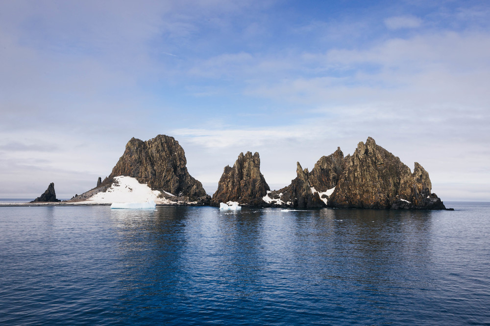 The mountainous landscape at Fort Point in the South Shetland Islands.