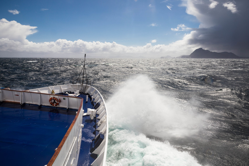 The wavy sea as we head north back to Ushuaia by way of Cape Horn.