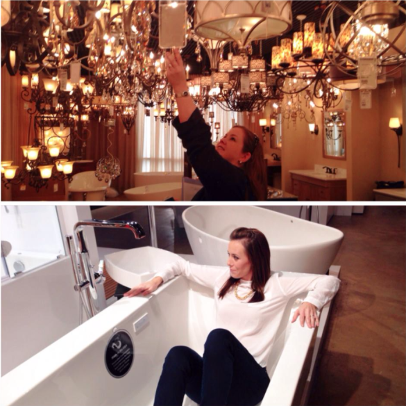 We spent time at Fergusons working on bathrooms and kitchens.  We sat in bathtubs and checked out lighting to make the perfect selections for our fabulous clients.