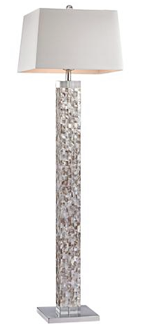 "MOTHER OF PEARL FLOOR LAMP  $350  63"" high  Shade is 17"" across the top and bottom, 11"" on the slant  Base is 17"" wide X 17"" deep"