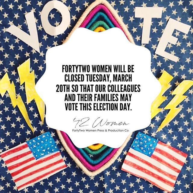 FortyTwo women will be closed tomorrow while our colleagues & their families exercise their civic duty and vote. #ElectionDay #Vote #midtermelections #womenvote #rockthevote #electiondayshouldbeaholiday #womenempowerment