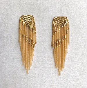 e8f3121fb Long Fringe Earrings in Matte Semitranslucent Topaz ...