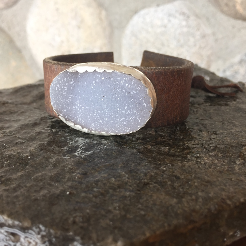 Druzy on leather cuff