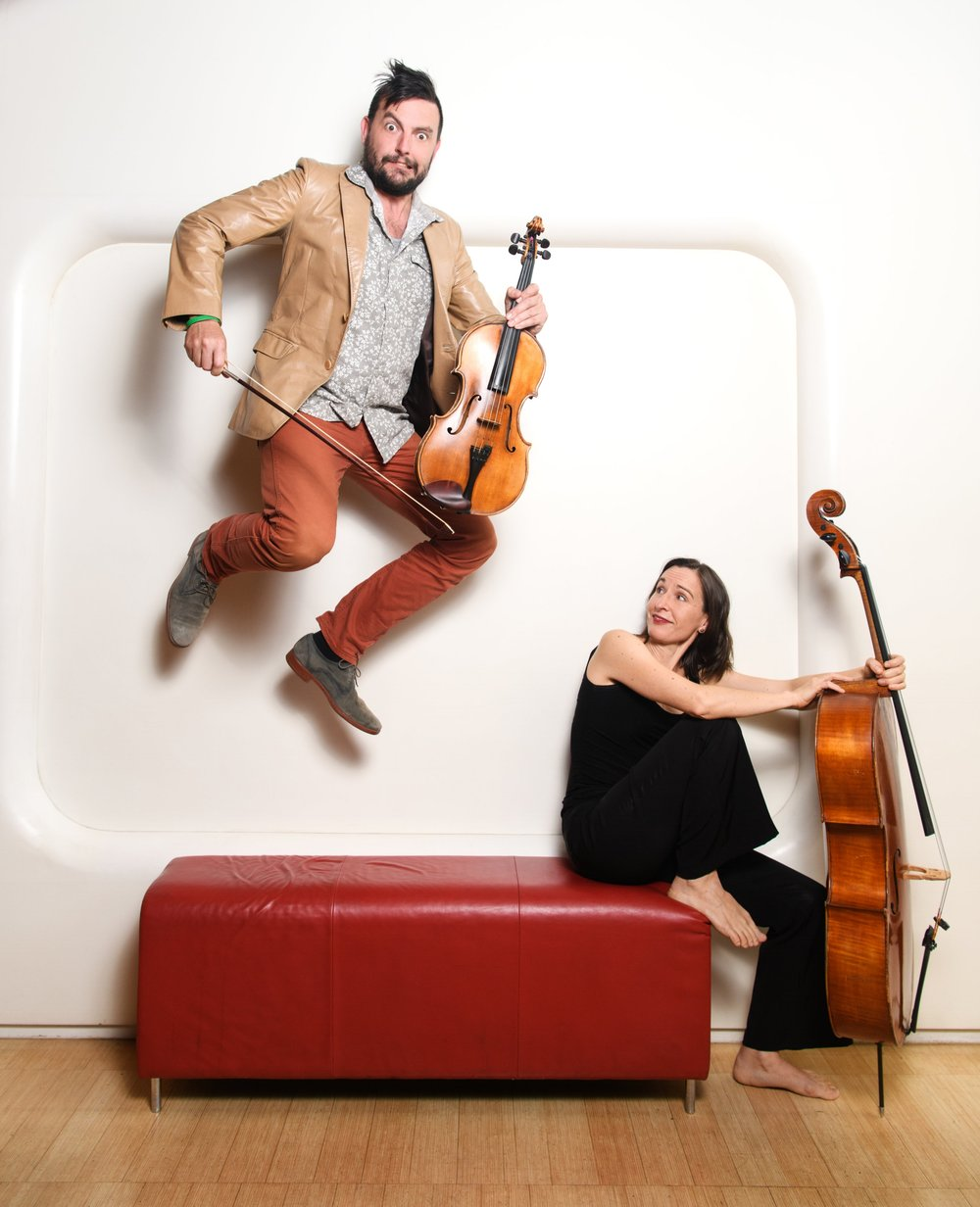 Chris Moore (viola/narrator) and Zoe Knighton (cello)  Photo credit:  Sarah Walker