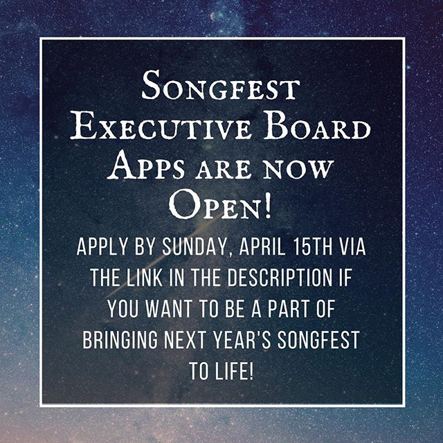 Apply using this link: https://scour.eee.uci.edu/s/4mgt2d2pf-2018  Songfest has been a truly amazing experience for all of us on Exec and we hope to give all of you in our Greek community the chance to participate in an event that has such a positive impact on so many people.  We know we have a ton of talented people in our chapters who can continue to make the legacy of Greek Songfest better and stronger so we look forward to reading all of your applications!! #ucigreeksongfest