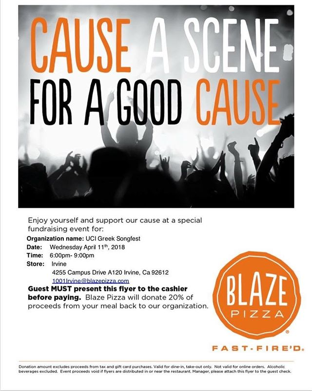 Join us on Ring Road today from 11-2 pm for another day of raffle ticket sales, star sales, and sign ins!  Then later, come to Blaze from 6-9pm and eat some pizza for the kids!  Blaze is donating 50% of every purchase to Make a Wish, all you have to do is show them this flyer and give Songfest Exec your receipt! #ucigreeksongfest