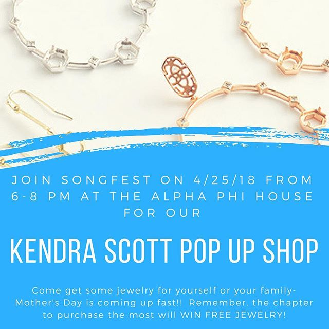 Our Kendra Scott fundraiser is tomorrow at the Alpha Phi house from 6-8pm!  Come get sparkly stuff to earn points and more importantly GRANT A WISH!! Hope to see everyone there! #ucigreeksongfest