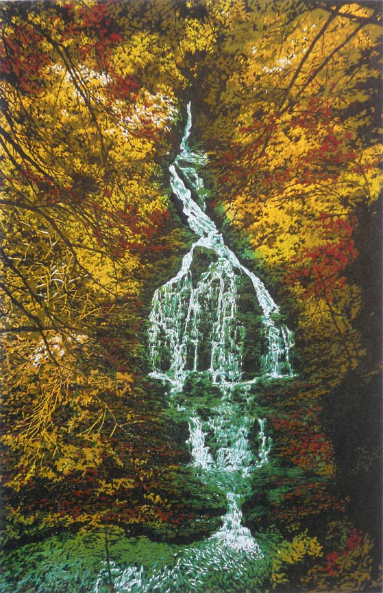 """Deep Wood Falls"" 9-color reduction linocut print, 17"" x 11"""