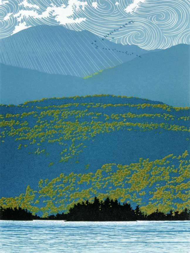 """""""Migration"""" 7-color reduction linocut print, 12"""" x 9"""""""