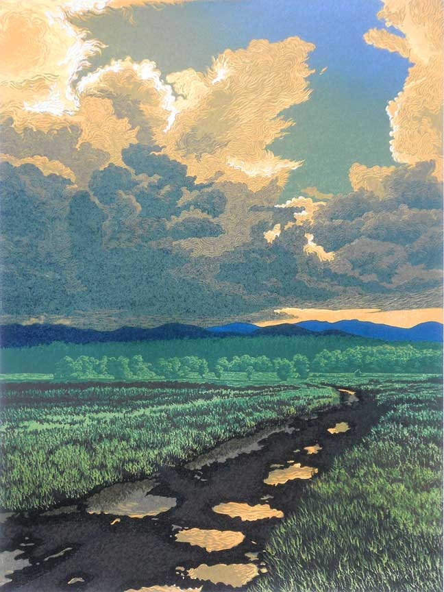 """After The Storm"" 12-color reduction linocut print, 12"" x 9"""