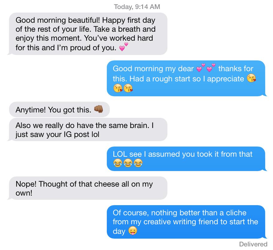 text convo with Jasmine