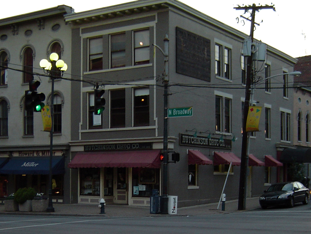 Hutchinson Drug Store (circa 2007) was located at the corner of Short & Broadway.