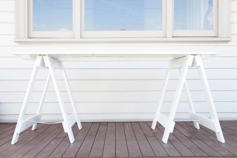 1.7m X 0.75m Wooden Trestle Table   White   Seats 6