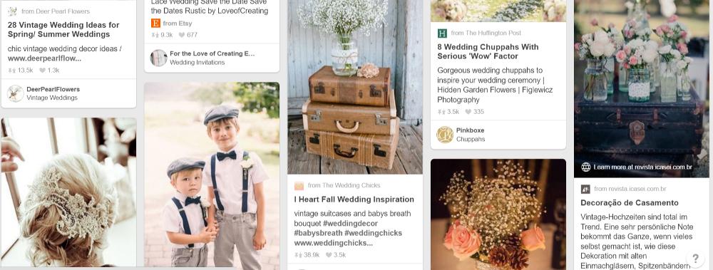 Pinterest results for 'vintage wedding'