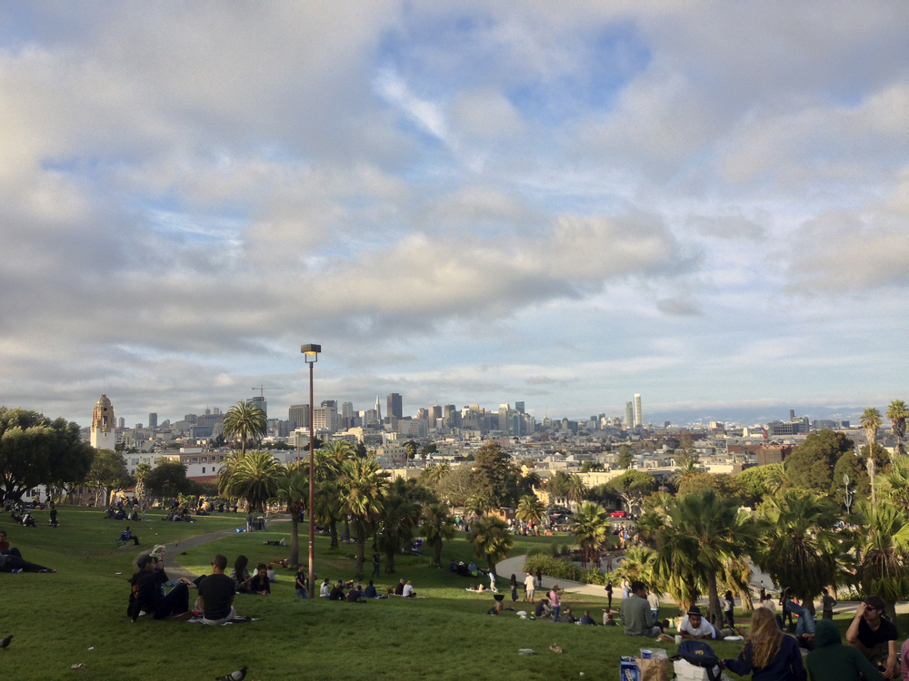 View of San Francisco from Dolores Park. You'll have to imagine the smell of marijuana yourself.