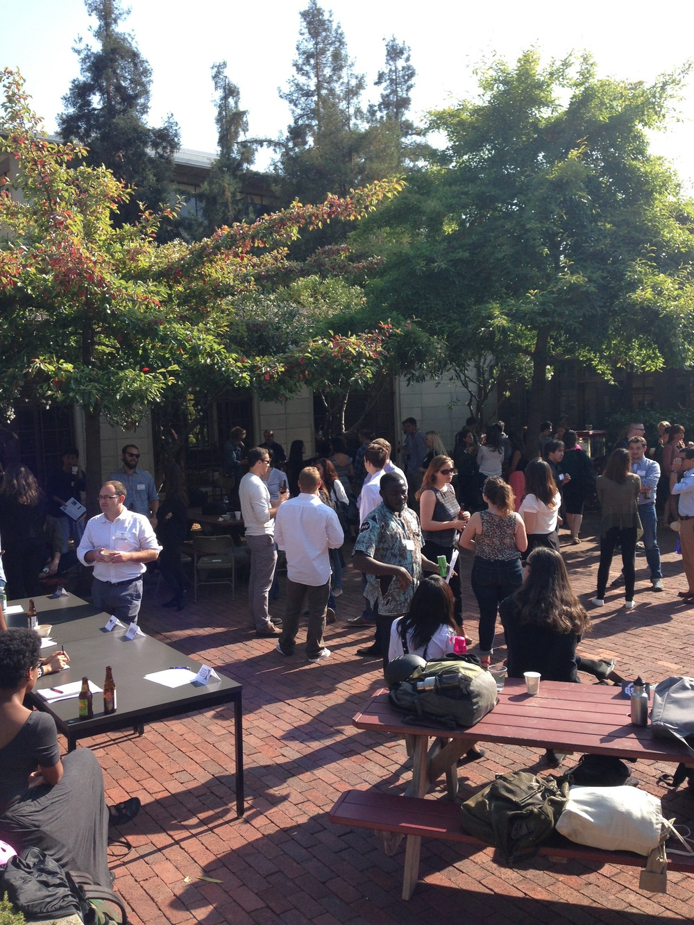 J-School post-orientation mixer with beer and good conversations in the North Gate Hall courtyard